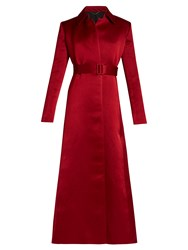The Row Neyton Washed Duchess Satin Long Line Coat Red