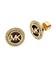 Michael Kors Goldtone And Tortoise Mk Stud Earrings