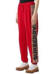 Burberry Jersey Sweatpants W Checked Side Band Red