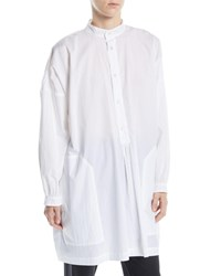 Eskandar Button Front Long Sleeve Washed Cotton French Smock Top White