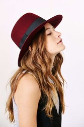 Urban Outfitters Sadie High Crown Felt Hat Maroon