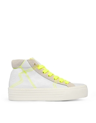 Bronx Leather High Top Trainers With Neon Yellow Detail Whiteneonyellow