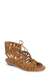 Jessica Simpson Women's Lalaine Ghillie Lace Sandal Honey Brown Suede