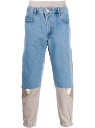 Martine Rose Denim Panelled Track Trousers Blue