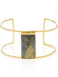 Ottoman Hands Labradorite Rectangle Statement Cuff Gold Plated