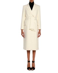 Tom Ford Tailored Wool Long Coat With Belt White