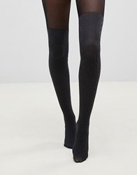 Pretty Polly Over The Knee Secret Cable Sock Tights In Marl Grey