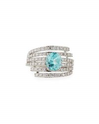 Vianna Brasil Paraiba Tourmaline And Diamond Ring In 18K White Gold