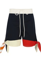 Chloe Color Block Cotton Twill And Linen Blend Shorts Navy