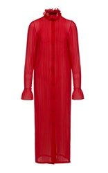 Ulyana Sergeenko Demi Couture Long Sleeve Shirt Dress Red