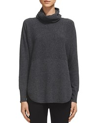 Whistles Ribbed Cowlneck Cashmere Sweater Dark Charcoal