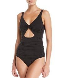 Stella Mccartney Ruched Cutout Tie Back One Piece Swimsuit Black