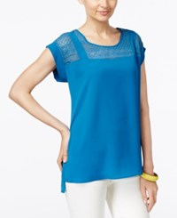 Ny Collection Short Sleeve Lace Yoke Top Blue Sapphire