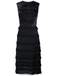 Christian Siriano Fringe Applique Dress Black
