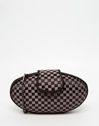 Lotus Woven Satin Box Clutch Bag Black