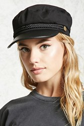 Forever 21 Faux Leather Cabby Hat Black Gold