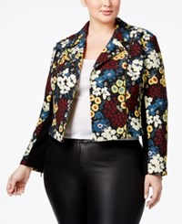 Rachel Roy Trendy Plus Size Printed Moto Jacket Black Combo