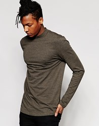 Asos Inject Slub Longline Long Sleeve T Shirt With Curve Hem And Turtle Neck Khaki Green