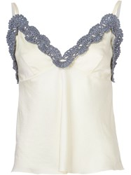 Vika Gazinskaya Crochet Detail Top White