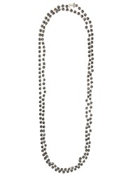 Ann Demeulemeester Long Crystal Chain Necklace Blue