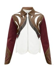 Lanvin Patchwork Leather And Suede Parrot Jacket Burgundy