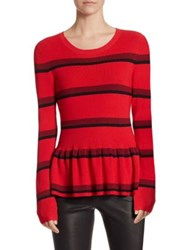 Saks Fifth Avenue Collection Viscose Ribbed Peplum Sweater Cherry Combo