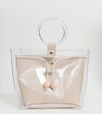 Glamorous Clear Shoulder Bag With Ring Grab Handle