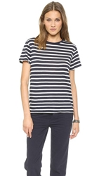 Nlst Classic T Stripes Tee Navy W Ecru Wide Stripes