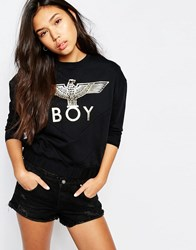 Boy London Eagle V Panel Sweatshirt Black Gold