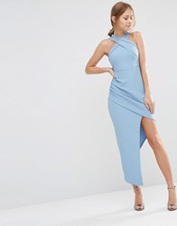 Ginger Fizz Sleeveless Wrap Front Dress With Asymmetric Skirt Blue