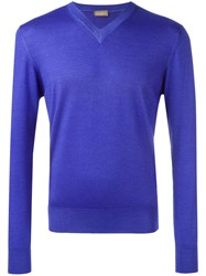 Cruciani V Neck Sweatshirt Pink Purple