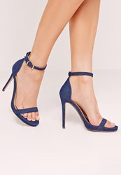 Missguided Barely There Sandals Denim Blue Blue