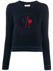Moncler Oversized Logo Knitted Sweater Blue