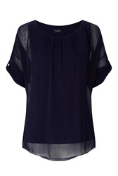 James Lakeland Silk 3 4 Sleeve Top Navy