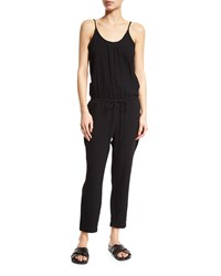 Skin Ginger Drawstring Waist Cropped Jumpsuit Black