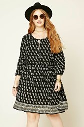 Forever 21 Plus Size Floral Self Tie Dress Black Cream
