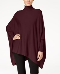 Alfani Turtleneck Poncho Sweater Created For Macy's New Wine