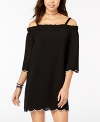 As U Wish Juniors' Scalloped Off The Shoulder Dress Black Ivory