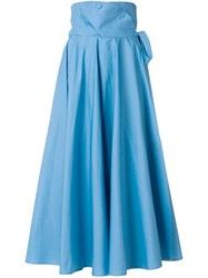 Sara Battaglia High Waisted Full Midi Skirt Blue