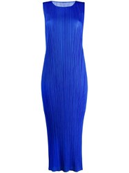 Issey Miyake Pleats Please By Micro Pleated Long Dress Blue