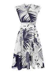 Marella Clipper Printed Cap Sleeve Cotton Wrap Dress Midnight Blue