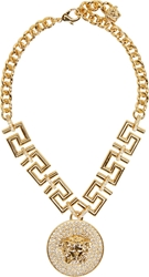 Versace Gold Medusa And Greek Key Necklace