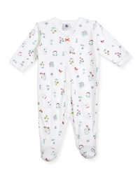 Petit Bateau Flower And Animal Print Footie Pajamas Size Newborn 6 Months White