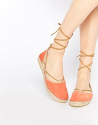 Free People Marina Coral Tie Up Espadrille Flat Shoes Orange