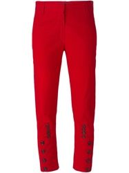 Ann Demeulemeester Button Detail Cropped Trousers Red