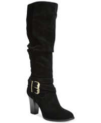 Inc International Concepts Womens Jordana Wide Calf Block Heel Boots Only At Macy's Women's Shoes Black