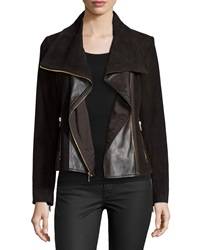 Neiman Marcus Suede Jacket W Leather Panels Chocolate Brown