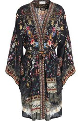 Camilla Woman Crystal Embellished Printed Silk Coverup Black