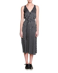 Tomas Maier Sleeveless Nova Print Wrap Dress Black White