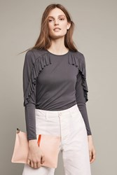 Anthropologie Shadowsong Ruffle Tee Dark Grey
